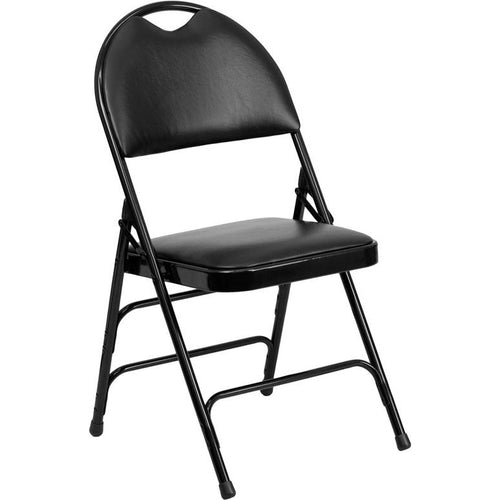 Extra Large Triple Braced Metal Folding Chair with Easy-Carry Handle