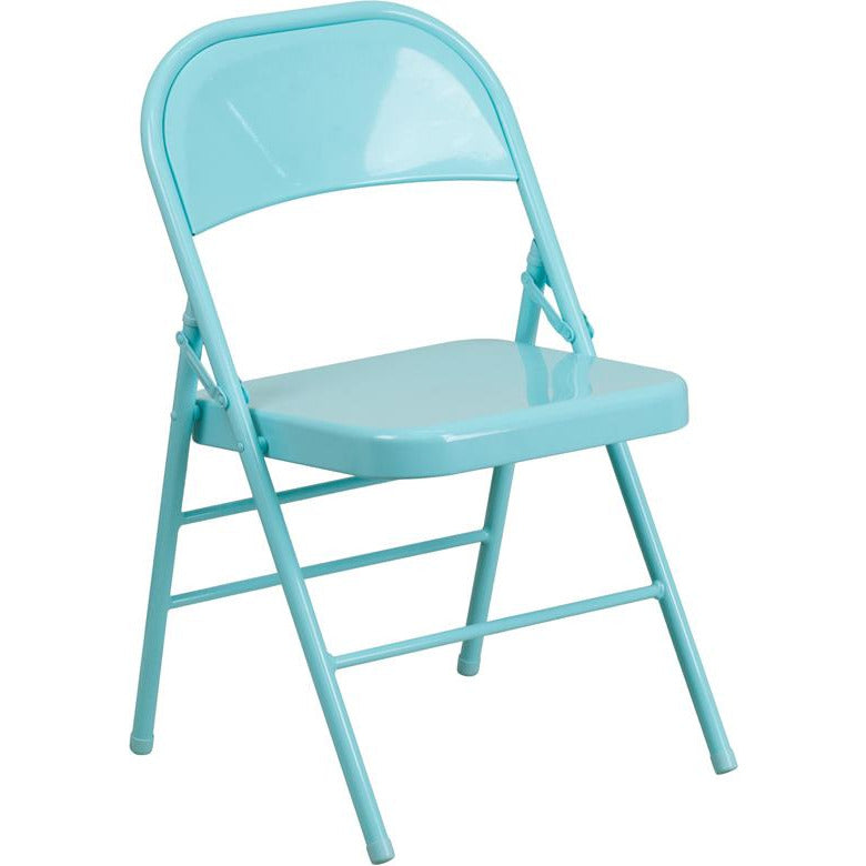 Triple Braced & Double Hinged Metal Folding Chair