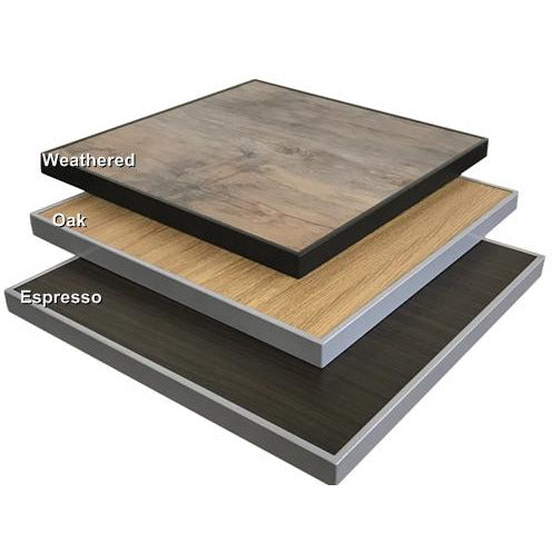 High Pressure Laminate Indoor/Outdoor Table Top with Grey Frame