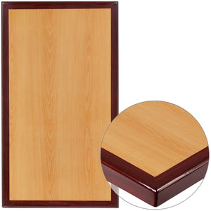 Two-Tone High-Gloss Cherry and Mahogany Resin Table Top