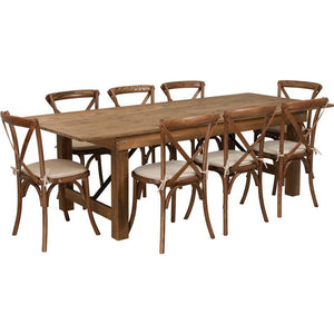 Americano Set - 1 x Farm Table and 8 x Cross Back Chairs