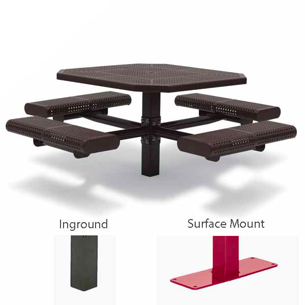 46 inch Octagon Picnic Table – 4 Seats – Basic Frame – Prestige Series – Inground or Surface Mount