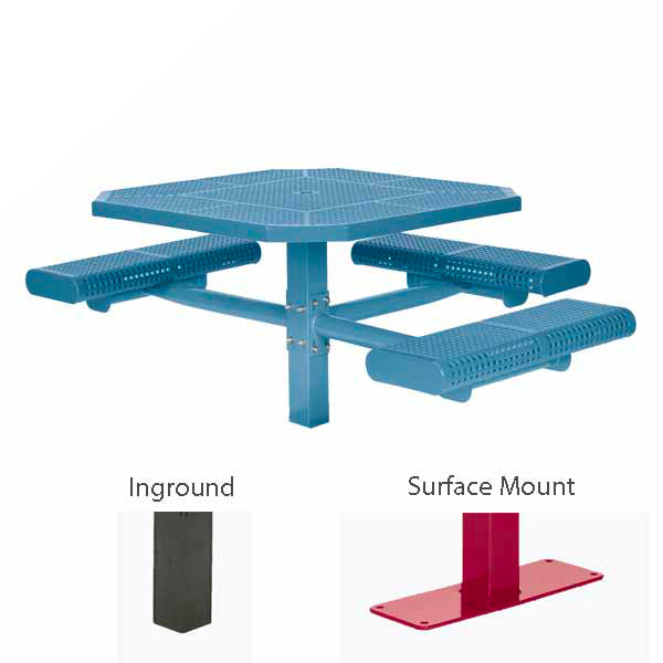 46 inch Octagon ADA Accessible Picnic Table – 3 Seats – Basic Frame – Prestige Series – Inground or Surface Mount