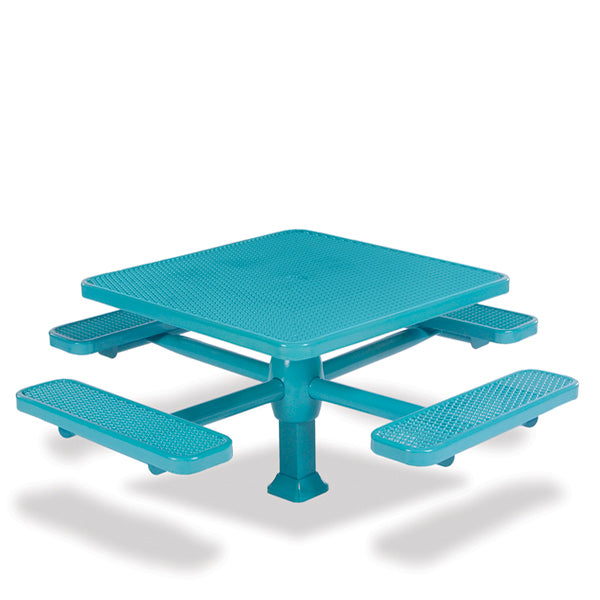 46 inch & 40 inch Square Pedestal Picnic Table with 4 Seats – Superior Frame – Signature Series – Inground