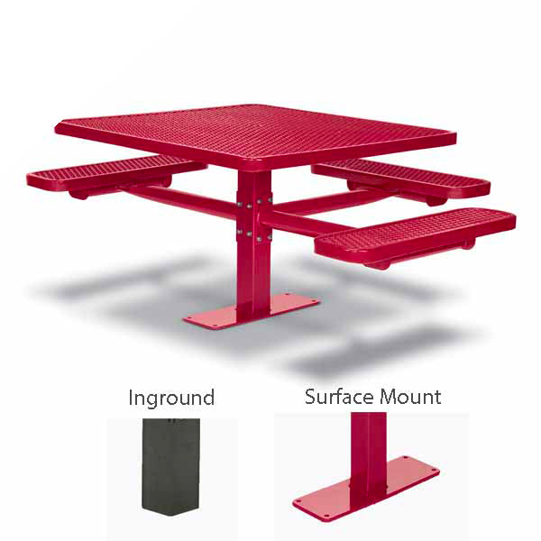 46 inch Square Pedestal ADA Accessible Picnic Table with 3 Seats – Basic Frame – Signature Series – Inground or Surface Mount