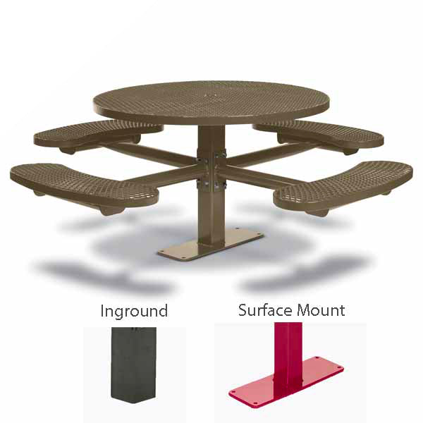 46 inch Round Pedestal Picnic Tables with 4 Seats – Basic Frame – Signature Series – Inground or Surface Mount