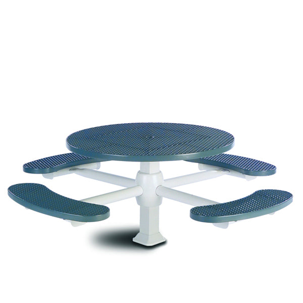 46 inch Round Pedestal Picnic Table with 4 Seats – Superior Frame – Signature Series – Inground