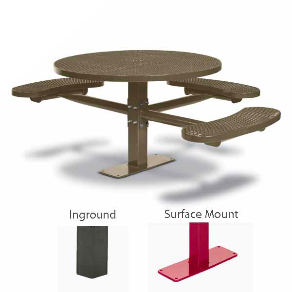 46 inch Round ADA Accessible Pedestal Picnic Table with 3 Seats – Basic Frame – Signature Series – Inground or Surface Mount
