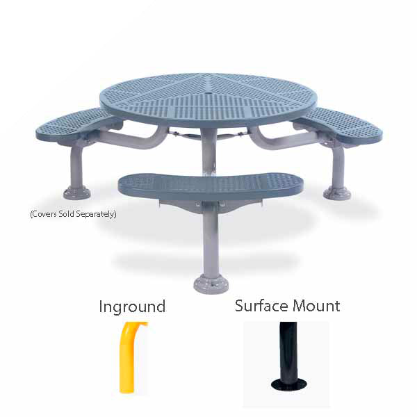 36 inch & 46 inch Round Picnic Table with 3 Legs – Spyder Series – Portable/Surface Mount or Inground