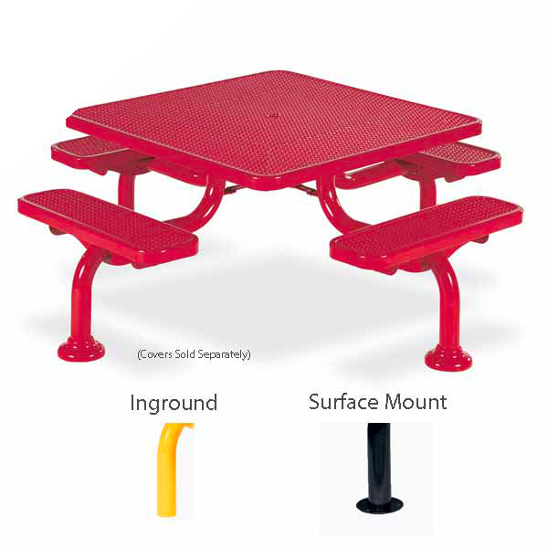 46 inch Square Picnic Table – Spyder Series – Portable/Surface Mount or Inground