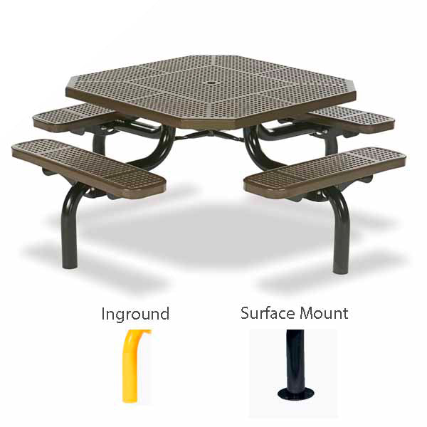 46 inch Octagon Picnic Table – Spyder Series – Portable/Surface Mount or Inground
