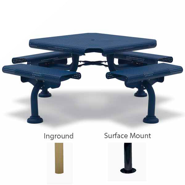46″ Square Picnic Table – 4 Seats – Camden Collection – Portable/Surface Mount or Inground
