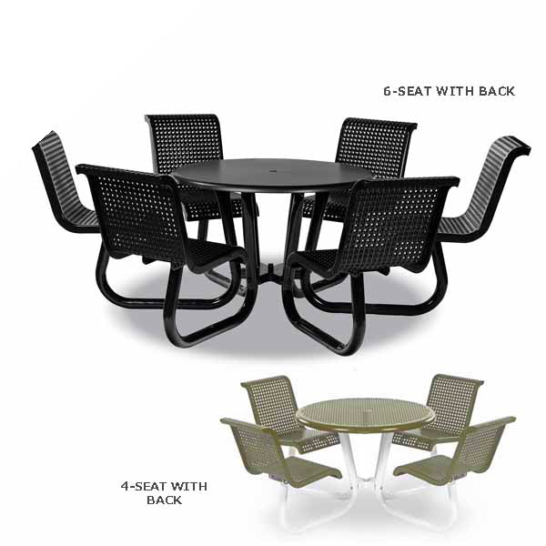 Outdoor Patio Picnic Table with Attached Chairs – Camino Series – Portable