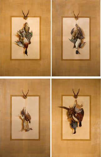Suite of 4: Trompe l'Oeil Trophies of the Hunt by Ludwig August Burckhardt