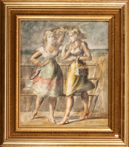 """Two Girls"" by Reginald Marsh"