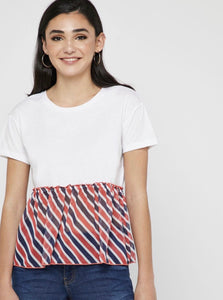 Tee-shirts mousseline white/stripes