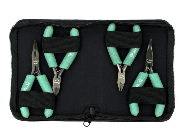 4 Pc Plier and Cutter Set with Tool Pouch (Ergonomic ESD Safe) Sewell