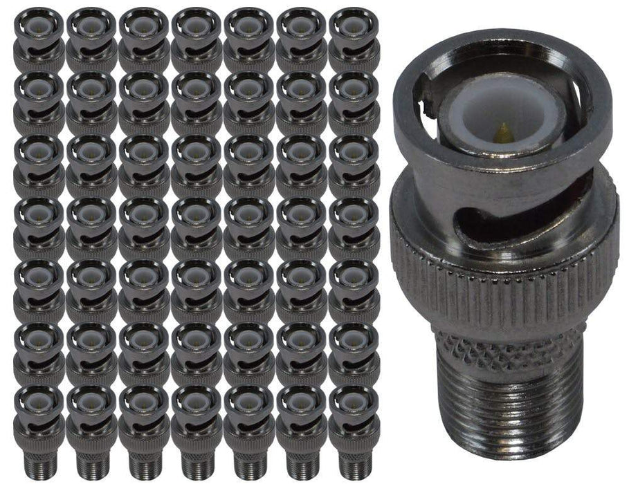 BNC Male to Female F-type Connector Adaptor, Sewell 50-pack SW-30040-50