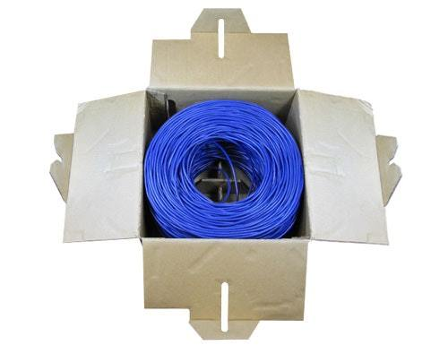 Cat5e Bulk Cable, 1,000 ft., Blue, Pull Box w/ 50 RJ45 Connectors Sewell Direct