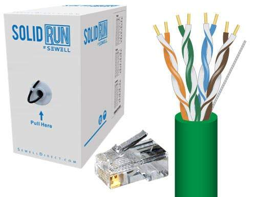 Cat5e Bulk Cable, UTP, Solid, 24 AWG, 1000' in a Pull Box w/ 50 RJ45 Connectors Bulk Cable Sewell