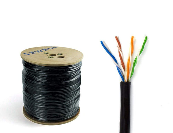 Direct Burial Cat5e Bulk Cable, Black 1,000 ft Bulk Cable Sewell