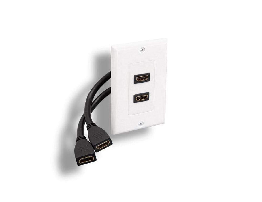 HDMI Wall Plate with HDMI Receptacles and Stress Relief Cables Sewell 2 Port SW-8015