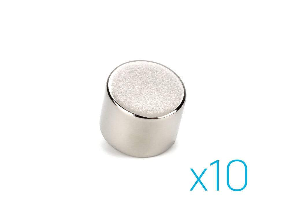 Neodymium Magnets, 12mm Diameter x 10mm Height Cylinder, 10 Pack Sewell