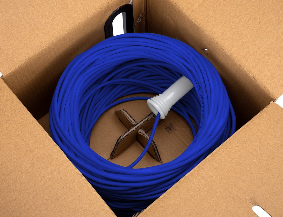 PureRun Bulk Cat6 Cable, Pure Copper, UTP CM 23 AWG, Pull Box, Blue Sewell