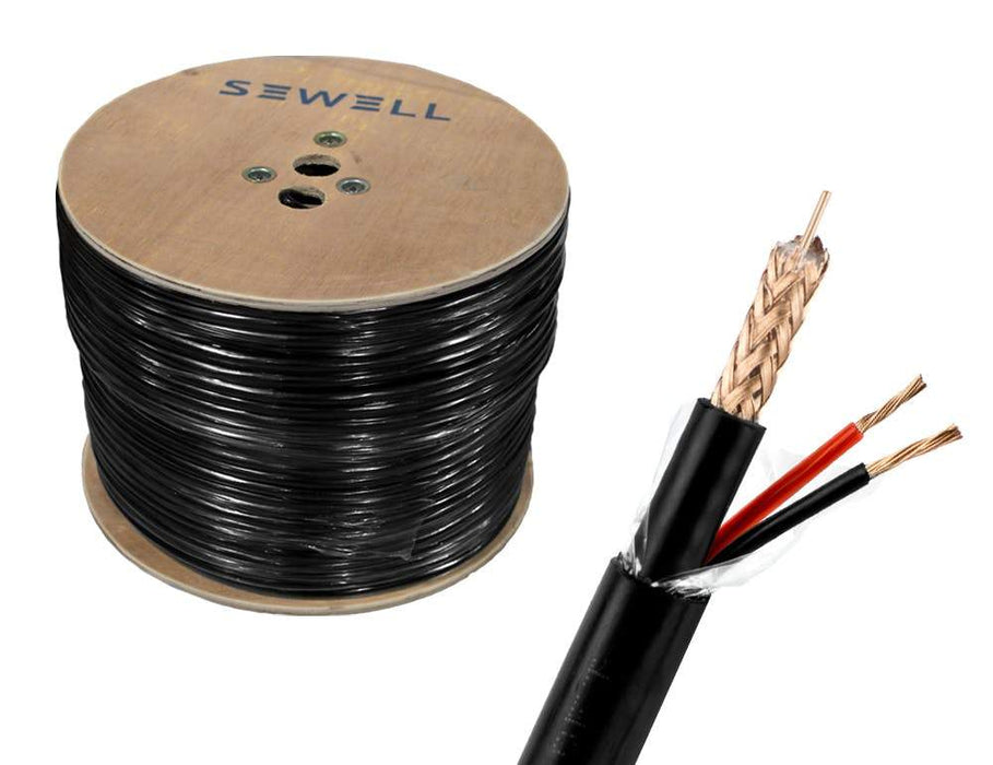 RG59 + Power Siamese Cable Bulk Cable Sewell Black/Direct Burial 1000ft SW-30380