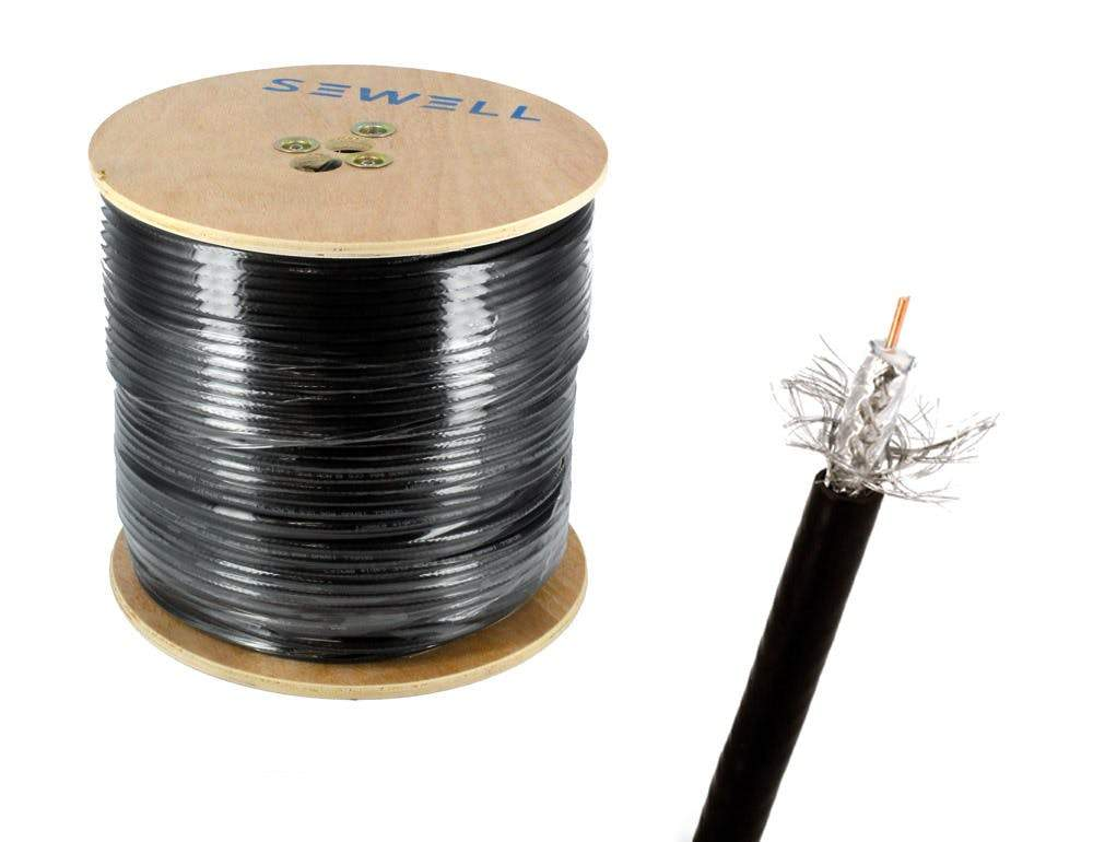 RG6 Bulk Cable, Pure Copper, Black, 60% Braid, 1000 ft Spool, Black Bulk Cable Sewell