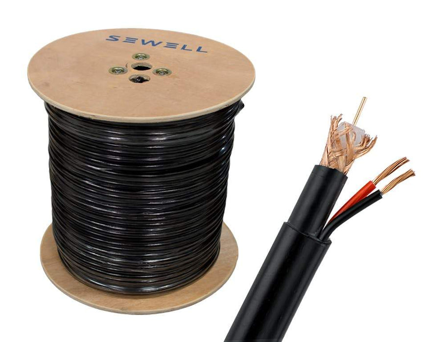 RG6 + Power Siamese Cable Bulk Cable Sewell Black/Direct Burial 1000ft SW-30383