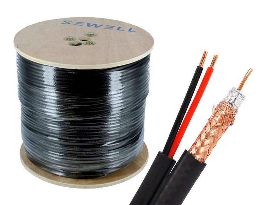 RG6 + Power Siamese Cable Bulk Cable Sewell Black/Indoor 500ft SW-30173