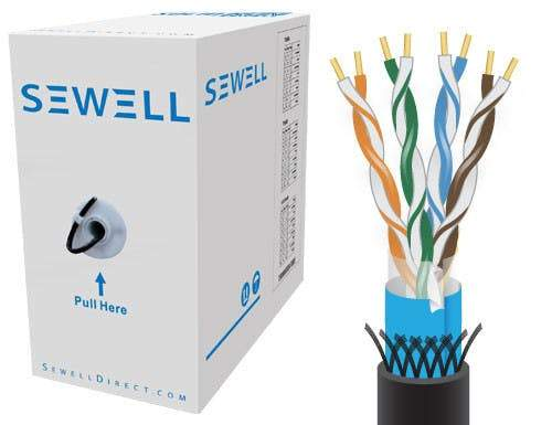 Sewell PureRun Bulk Cat5e, Solid, Pure Copper, 1000 ft STP (Foil and Braided) UV Protect (CMX) 24 AWG, Black Bulk Cable Sewell