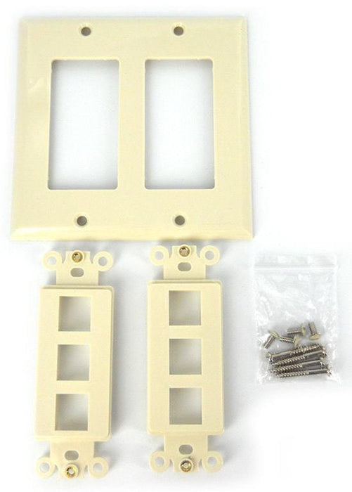 Sewell Wall Plate with 6 Keystone Ports, 2-Gang, Beige, 10 Lot Sewell