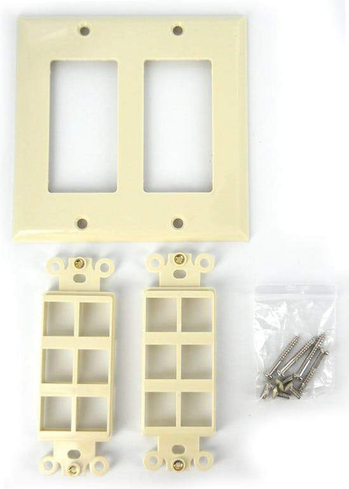 Sewell Wall Plate with Keystone Jack Ports Sewell Beige 2 Gang 12 Port SW-29449