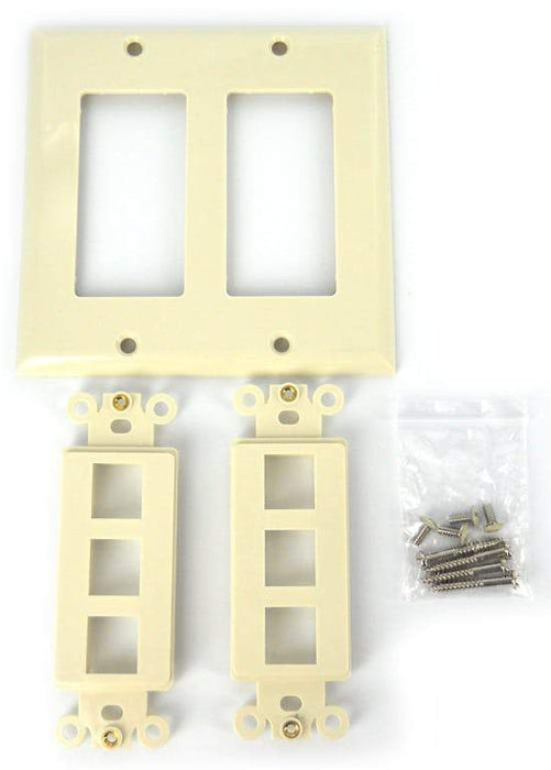 Sewell Wall Plate with Keystone Jack Ports Sewell Beige 2 Gang 6 Port SW-29448
