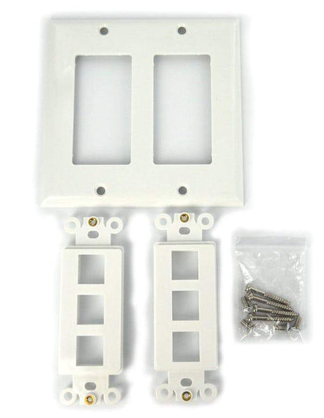 Sewell Wall Plate with Keystone Jack Ports Sewell White 2 Gang 6 Port SW-29453