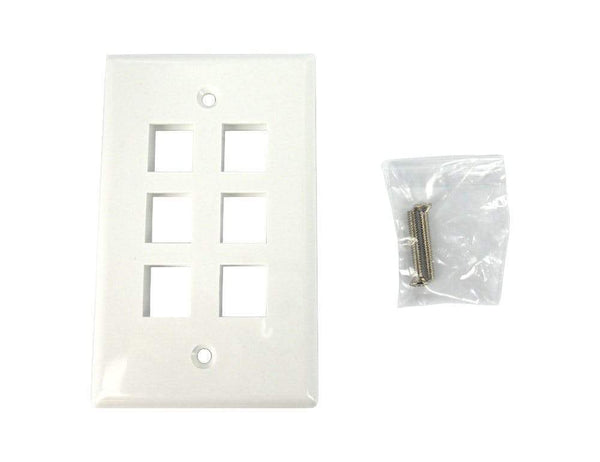 Sewell Wall Plate with Keystone Jack Ports Sewell White Single Gang 6 Port SW-29452