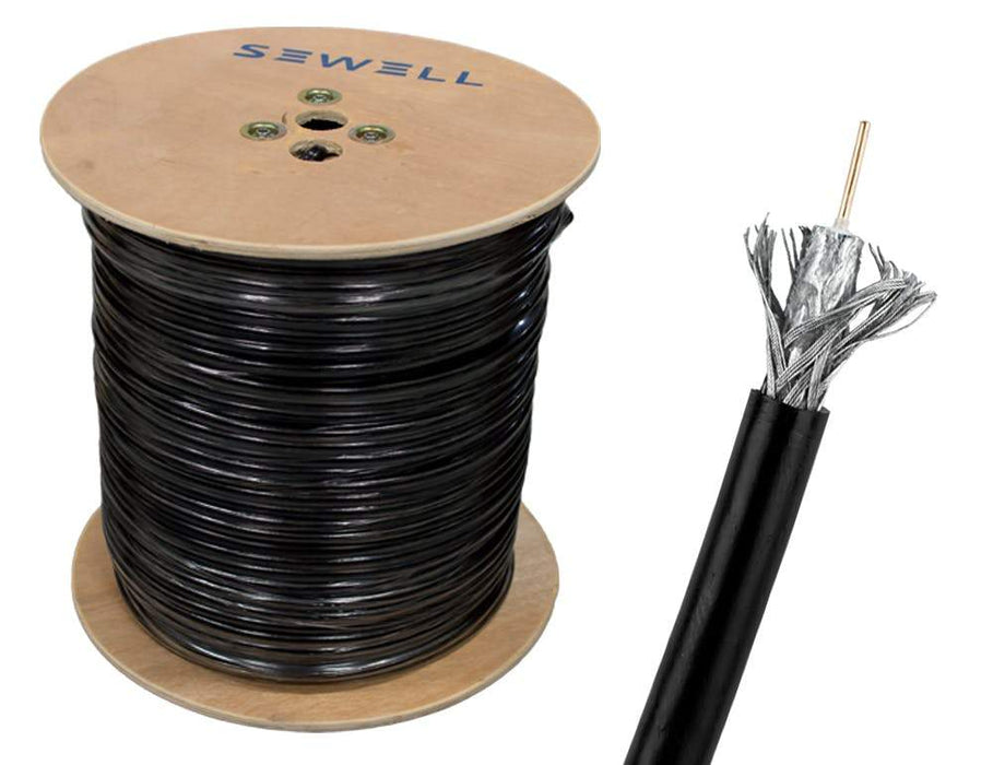 Shielded RG59 Bulk Cable Bulk Cable Sewell Black/Direct Burial 1000ft/95% Braid SW-30352