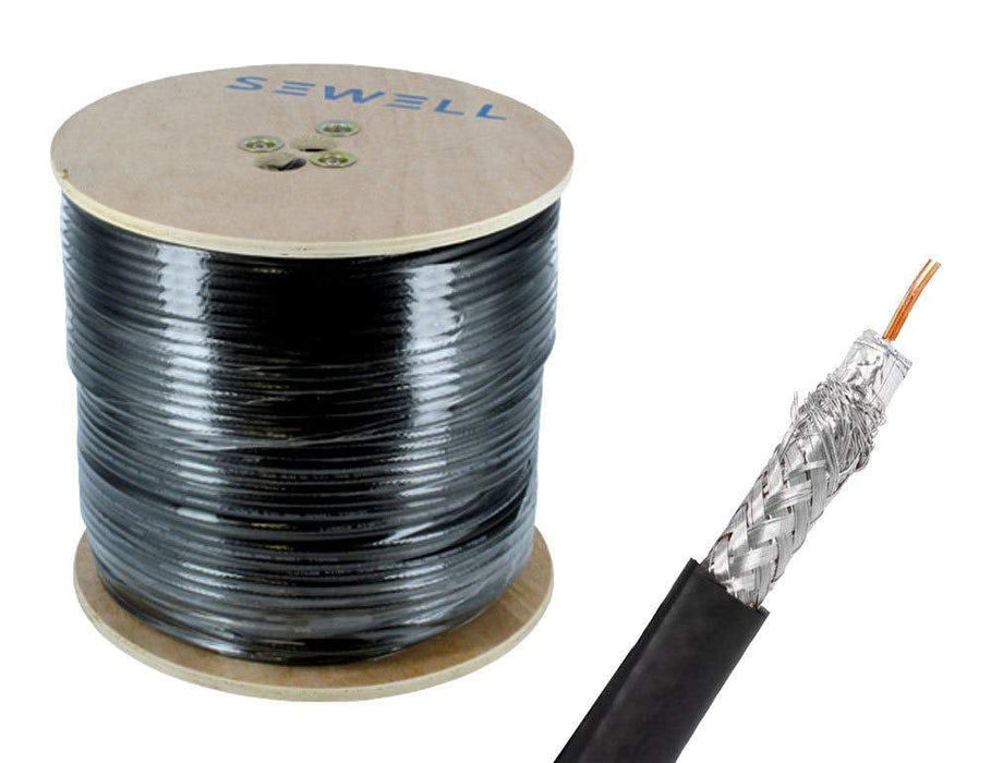 Shielded RG59 Bulk Cable Bulk Cable Sewell Black/Indoor 1000ft/60% Braid SW-30060