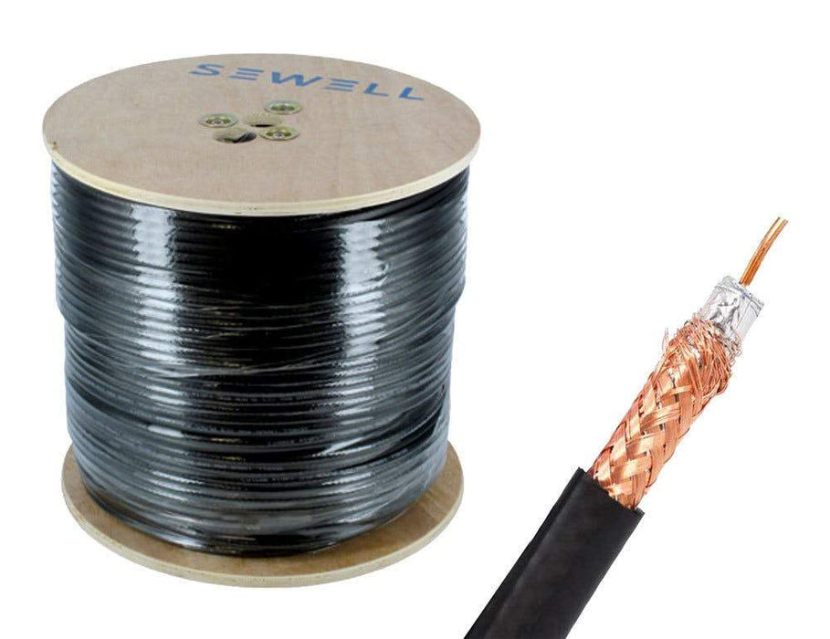Shielded RG59 Bulk Cable Bulk Cable Sewell Black/Indoor 1000ft/95% Braid SW-30082