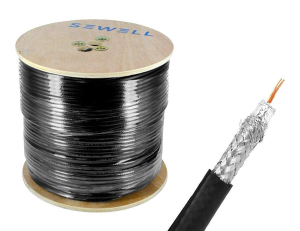 Shielded RG59 Bulk Cable Bulk Cable Sewell Black/Indoor 500ft/95% Braid SW-30081