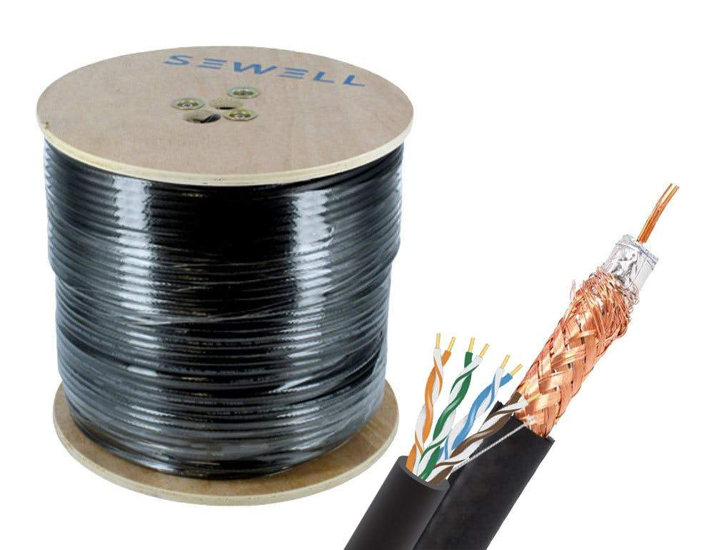 wooden spool black//white single 1000ft RG-59 coaxial cable ETL