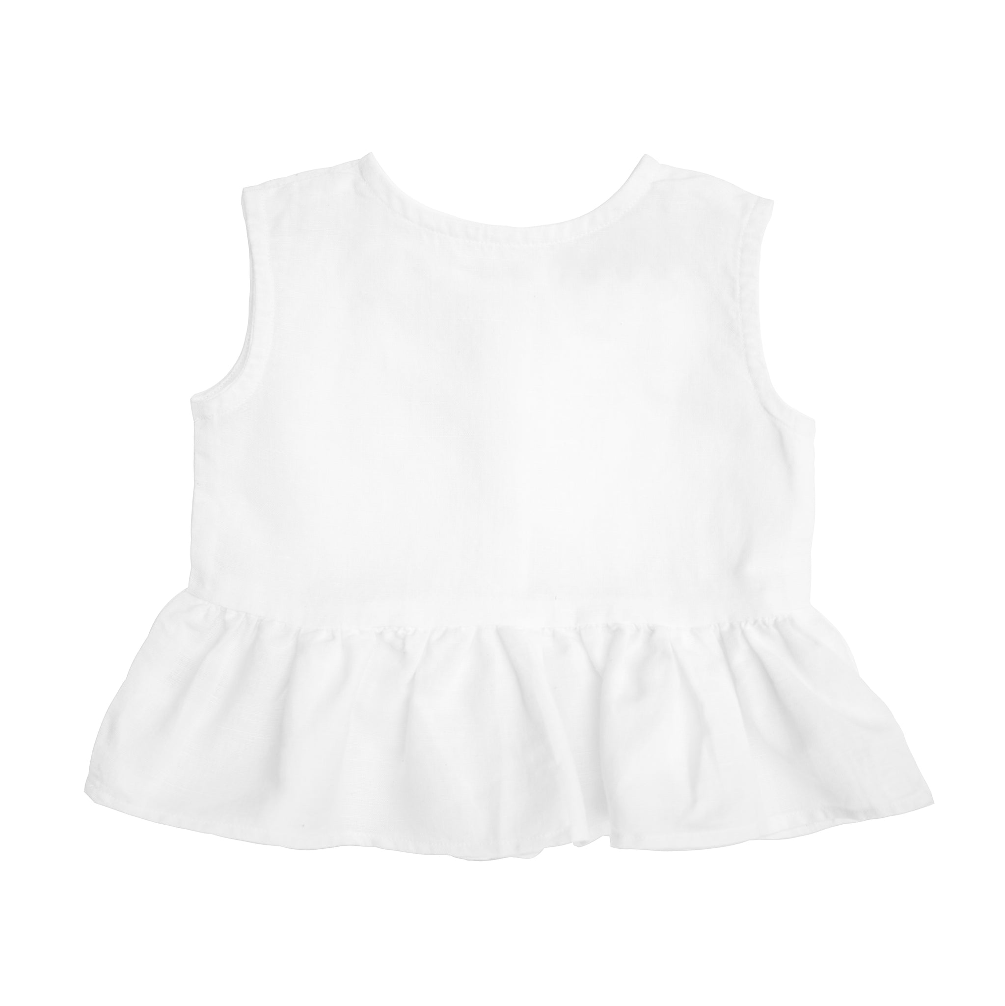 Sleeveless frill blouse | White linen