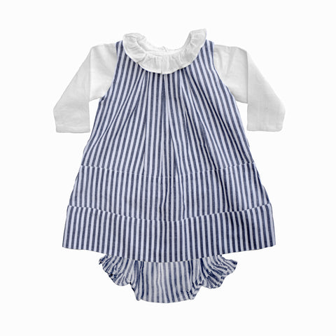 Linen panel dress and bloomer set | Harbor Island stripe