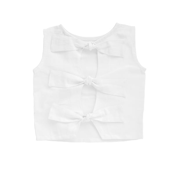 Summer bow blouse | White linen