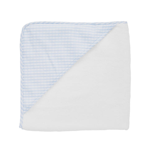 Hooded towel and wash glove | Pale blue gingham
