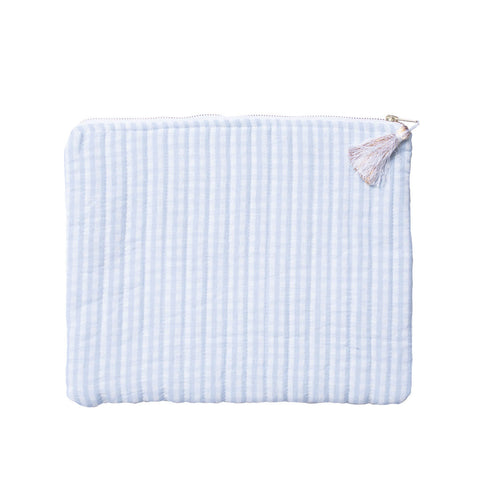 Linen pouch | pale blue gingham