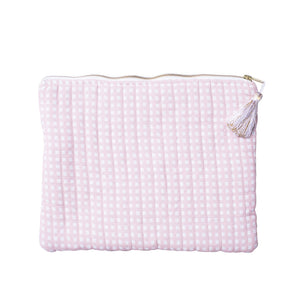 Linen Pouch | Dusty Pink Gingham