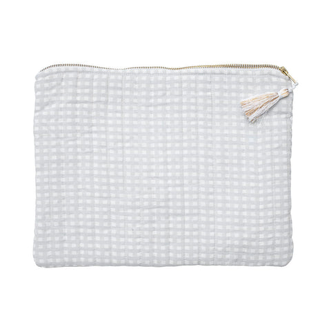 Linen Pouch | Grey Gingham